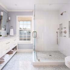 Gray Cottage Master Bathroom With Glass Shower