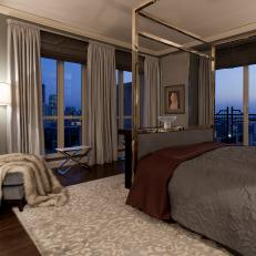 Gray Art Deco Bedroom With Canopy Bed