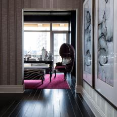 Contemporary Hallway Detail With Dark Stained Hardwood Floors And Wallpaper