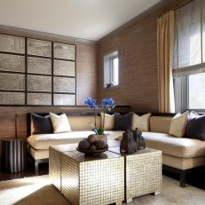 Brown Contemporary Sitting Room With Banquette