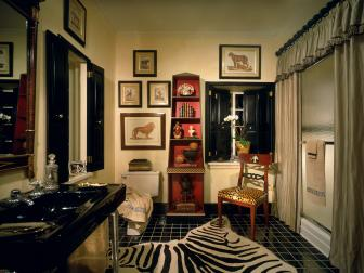 Luxury English Regency Bathroom in Black and Gold with Animal Prints