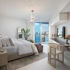 Neutral Master Bedroom With Water View