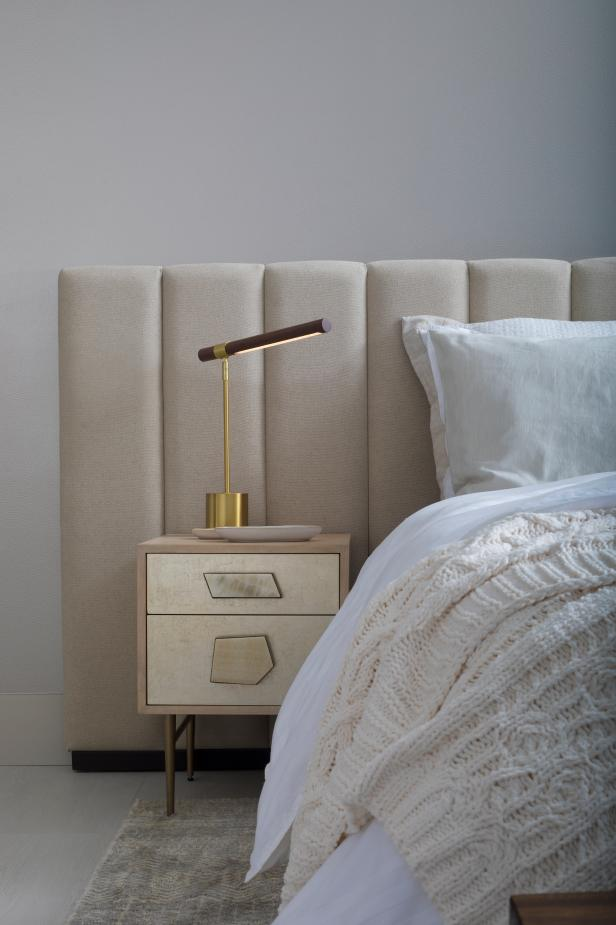 Neutral Master Bedroom With Linen Headboard
