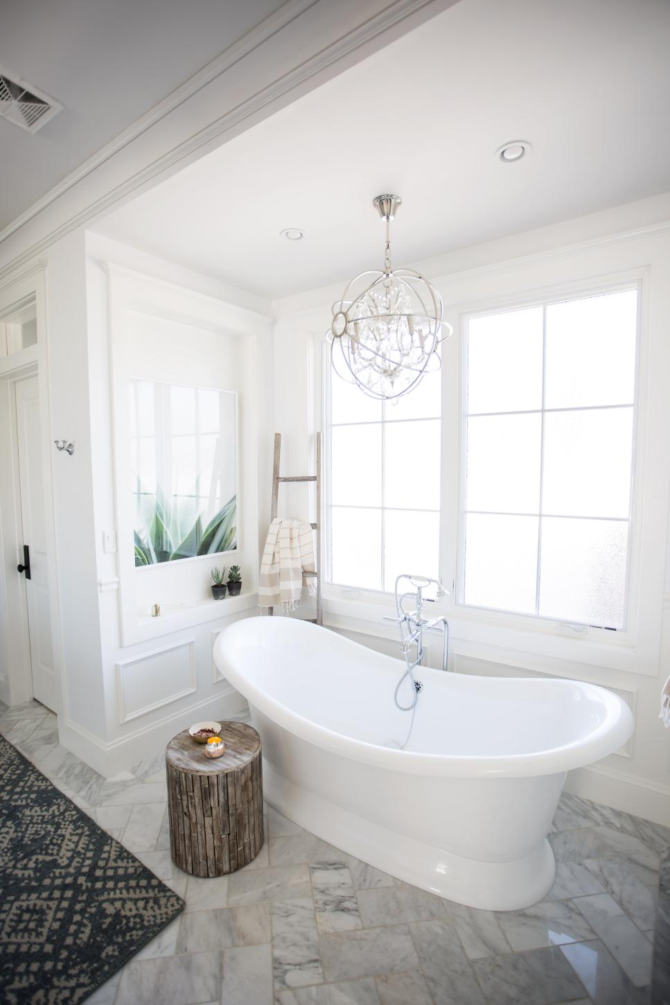 transitional master bathroom with wood stool