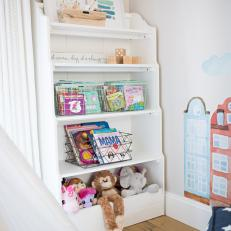 Bookcase With Baskets Keeps Playroom Neat and Organized