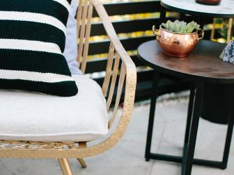 Eclectic Neutral Patio with Brown End Table