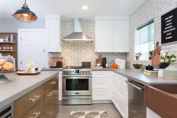appealing white kitchen brick backsplash   Contemporary Neutral Kitchen with White Brick Backsplash ...