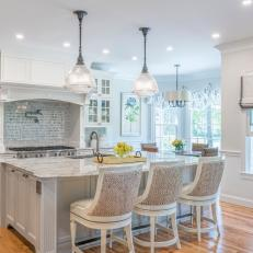 White, Bright Open Plan Kitchen With Pot Filler
