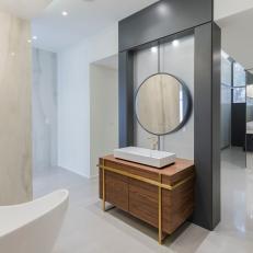 Modern Spa Bathroom With Gray Wall