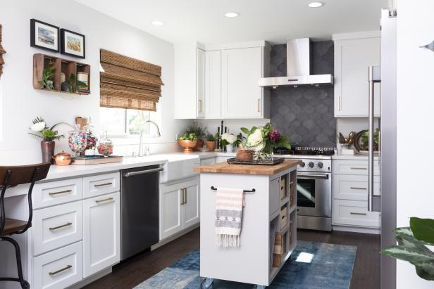 White Kitchen with Kitchen Cart with Neutral Countertops