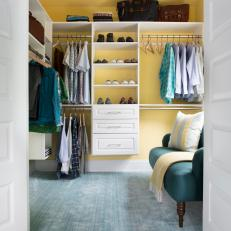 Yellow Walk-In Closet With Sofa