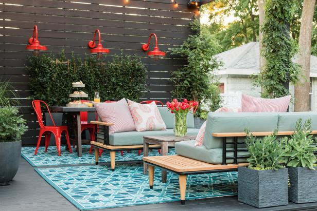 Outdoor Living Room With Blue Rug
