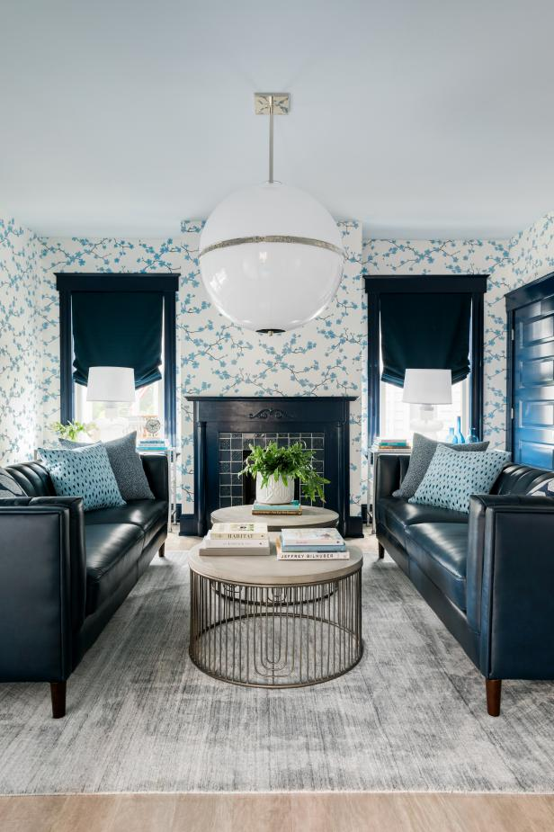 Blue Sitting Room and Globe Chandelier