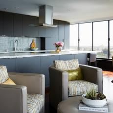 Gray Modern Open Plan Kitchen With City View