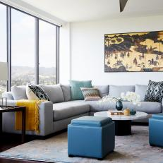 Contemporary Living Room With Cube Ottomans