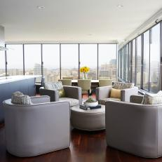 Gray Great Room With City View