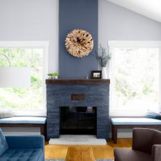 Gray Transitional Living Room With Stone Fireplace