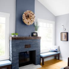 Blue Transitional Living Room With Gray Fireplace