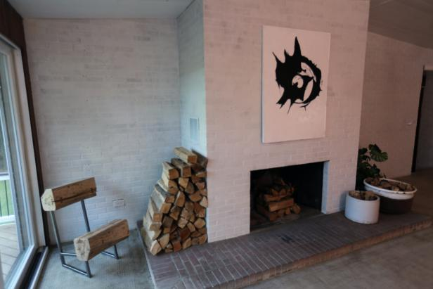 Rustic Living Room with White Brick Fireplace, Custom Painting