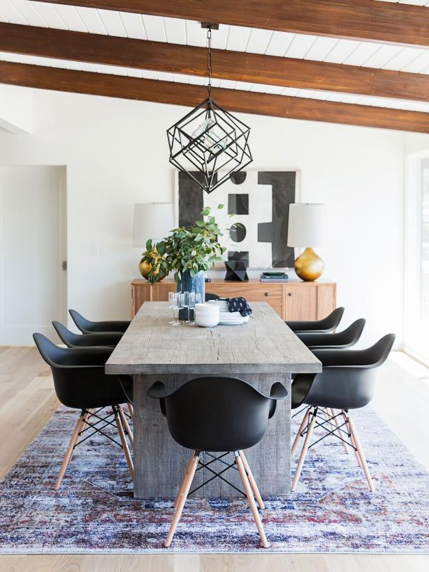 Black and white decorated dining room