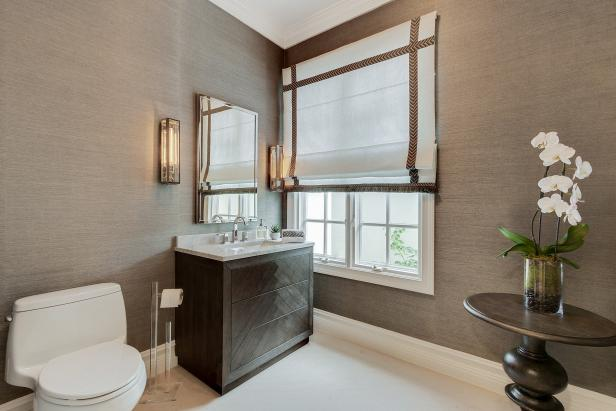 Bathroom With White Orchid