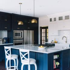 Contemporary Blue And White Kitchen With Modern Details And Work Island