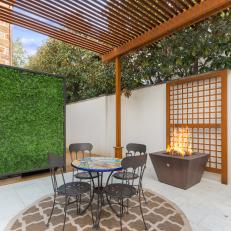 Small Outdoor Dining Table and Fire Bowl