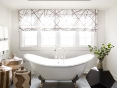 Transitional Master Bath Complete With Roman Shades, Clawfoot Tub