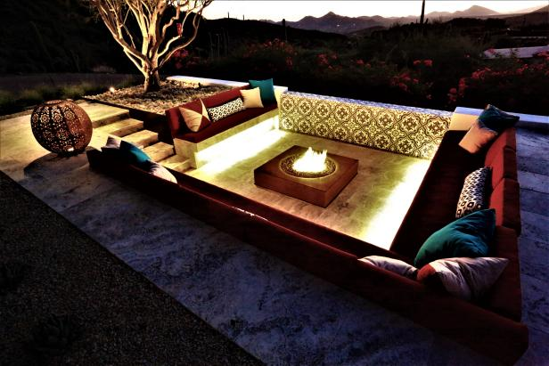 Sunken Southwestern Seating Area with Fire Pit