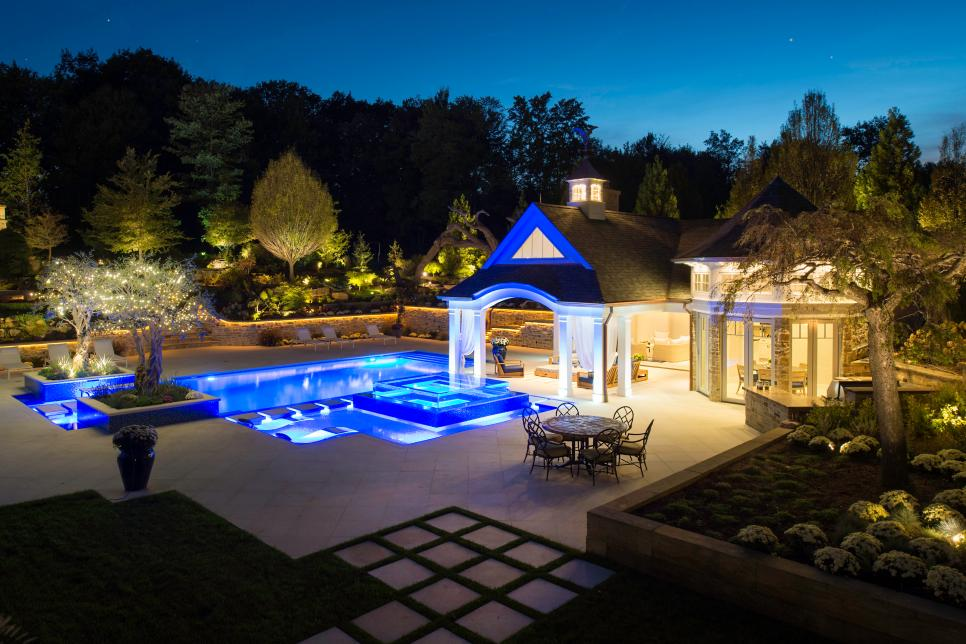 Pool and Poolhouse at Night