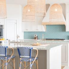 Calming Coastal Kitchen With Double Kitchen Islands
