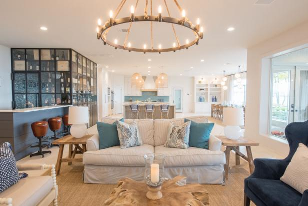 Open Plan Living Room With Coastal Designs, Wet Bar And Dining Nearby