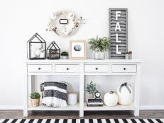 A Black and White Fall Side Table