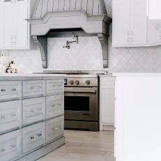Gray and White French Country Kitchen