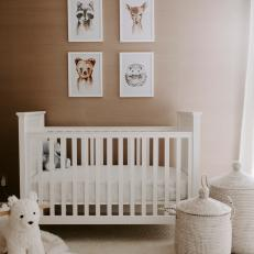 Neutral Scandinavian Nursery With Animal Prints