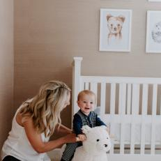 Neutral Nursery With Baby and Bear