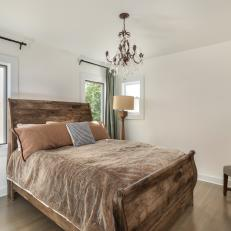 Neutral Mediterranean Bedroom With Sleigh Bed
