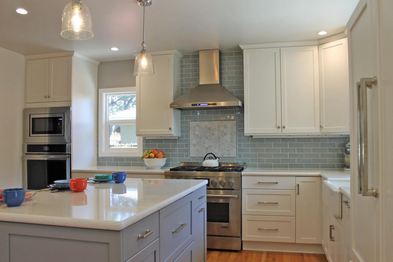 - White Transitional Kitchen With Blue Glass Backsplash HGTV