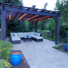 Large Lighted Pergola With Wicker Sectional Seating