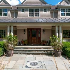 Traditional Home Front Entrance With Stone Pavers
