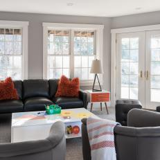 Transitional Living Room With Wall Of Windows