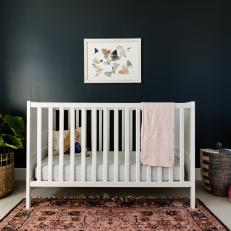 Contemporary Nursery With Black Accent Wall