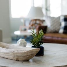 Natural Wood Boat and Tiny Plant on Round Wood Coffee Table