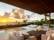 Covered Oceanfront Patio With Sunset View