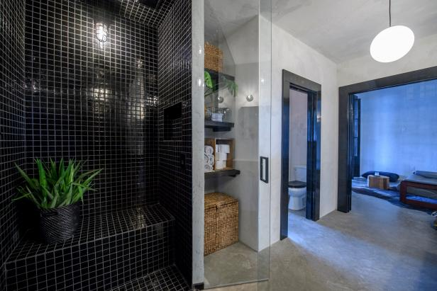 Gray Bathroom with Black Tile Shower