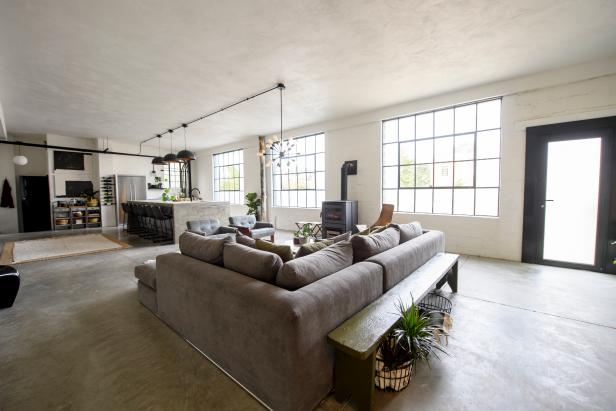 Neutral Living Room with Gray Sectional