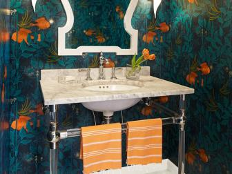 Powder Room with Dramatic Nautical Wallpaper and Single Vanity