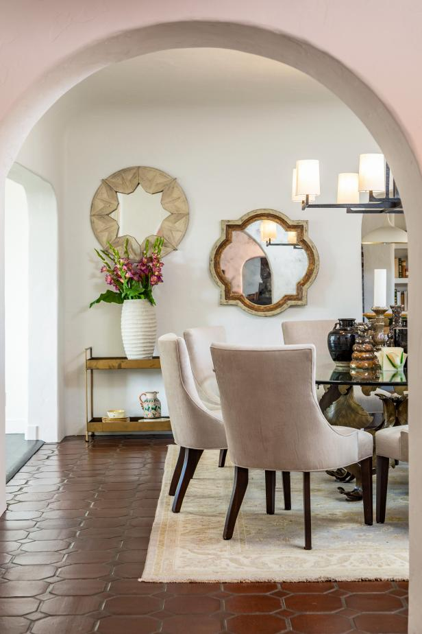 Mediterranean-modern dining room with bar cart
