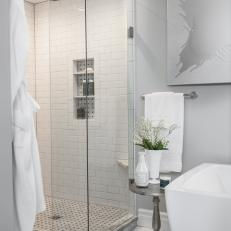 Glass Enclosed Walk-In Shower with Rain Shower
