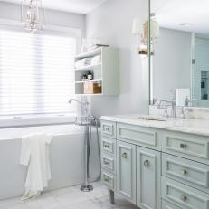 Master Bathroom with Soaking Tub and Custom Vanity Cabinet